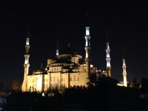 Gorgeous view of the Blue Mosque from a nearby rooftop bar